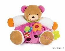Plyšový medvídek Colors-Chubby Bear Flower Kaloo s chrastítkem a kousátkem 30 cm v dárkovém balení pro nejmenší