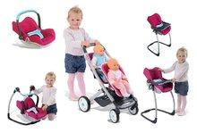 Set kočík pre dve bábiky Maxi Cosi & Quinny Smoby športový (rúčka 65,5 cm) a hojdačka so stoličkou a autosedačkou