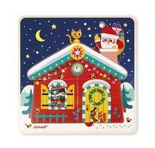 Dřevěné puzzle pro děti Štědrý večer v domku Janod třívrstvé 3v1 v ozdobném balení od 18 měsíců
