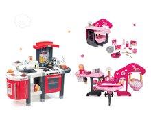 Červená kuchynka Tefal Superchef so zvukmi, ľadom, grilom a domček pre bábiku Baby Nurse Zlatá edícia trojkrídlový 311300-26