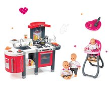Červená kuchynka Tefal Superchef so zvukmi, ľadom, grilom a jedálenská stolička s bábikou 311300-27