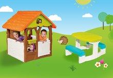 Domčeky sety - Set domček Máša a medveď Smoby s kvetináčom a stôl Piknik s úložným priestorom od 24 mes_2