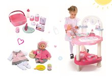 Set prebaľovací stôl pre bábiku Baby Nurse Srdiečko Smoby a bábika so šatôčkami 32 cm