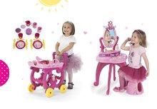 Set kozmetický stolík Disney Princezné 2v1 Smoby so stoličkou a servírovací vozík s raňajkovou súpravou