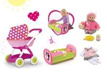Set kočík Minnie pre bábiku Smoby hlboký (58 cm rúčka), kolíska s perinkou a bábika so šatôčkami 32 cm od 18 mesiacov