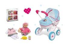 Set detský kočík Frozen pre bábiku Smoby hlboký (54 cm rúčka) a bábika Baby Nurse so šatôčkami 32 cm od 18 mesiacov