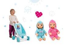 Set detský kočík pre bábiku Frozen Smoby bugina (49 cm rúčka) a bábika so zvukom MiniKiss od 18 mesiacov