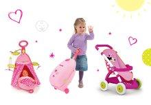 Set detský kočík pre bábiku Minnie Smoby športový (58 cm rúčka) a opatrovateľský kufrík Nursery Minnie od 18 mesiacov