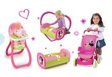 Set detský kočík pre bábiku Minnie Smoby športový (58 cm rúčka), jedálenská stolička, kolíska a bábika so šatôčkami od 18 mesiacov
