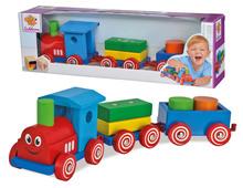 Dřevěné kostky - Dřevěný vláček s kostkami Coloured Train Eichhorn lokomotiva s 2 vagony 7 dílů od 12 měsíců_0