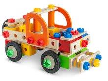 Dřevěné stavebnice Eichhorn - Dřevěná stavebnice pracovní stroje Constructor Tool Box Eichhorn autojeřáb džíp nákladní auto a služební auto 170 dílů od 6 let_1