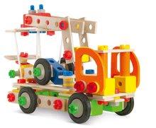 Dřevěné stavebnice Eichhorn - Dřevěná stavebnice pracovní stroje Constructor Tool Box Eichhorn autojeřáb džíp nákladní auto a služební auto 170 dílů od 6 let_2