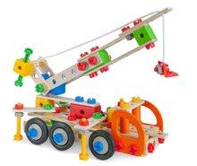 Dřevěné stavebnice Eichhorn - Dřevěná stavebnice pracovní stroje Constructor Tool Box Eichhorn autojeřáb džíp nákladní auto a služební auto 170 dílů od 6 let_4