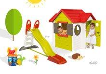 SMOBY 810400-18 domček My House s 2 dvierkami+šmykľavka Toboggan XL s vodou+ vedro set Dory