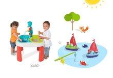 Set stôl pre deti Voda&Piesok 2v1 Smoby s mlynom, otvorom na slnečník a rybárska udica s 2 rybami a plachetnicou s námorníkom od 18 mesiacov