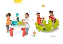 SMOBY 310063-3 stôl Voda&Piesok 2v1 s mlynom, otvorom na slnečník+obojstranná hojdačka Tuleň s vodotryskom od 18 mesiacov