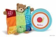 KALOO 963260 plyšový medvedík bábka na maznanie COLORS-DOUDOU PUPPET BEAR PATCHWORK 20 cm z jemného plyšu v darčekovej krabič