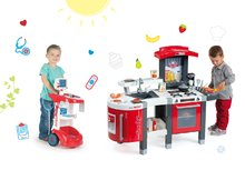Set detská kuchynka Tefal SuperChef Smoby s grilom a kávovarom a zvukový lekársky vozík