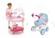 Set prebaľovací stôl pre bábiku Baby Nurse Srdiečko Smoby a hlboký kočík Frozen (54 cm rúčka)