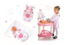 Set prebaľovací stôl pre bábiku Baby Nurse Srdiečko Smoby a nočný úbor pre 42 cm bábiku