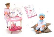 Set prebaľovací stôl pre bábiku Baby Nurse Srdiečko Smoby, bábika v dupačkách 32 cm a magická fľaša