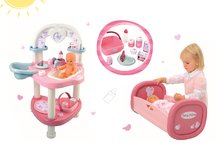 Set prebaľovací stôl Baby Nurse Srdiečko Smoby a kolíska pre 42 cm bábiku