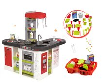 Szett játékkonyha Tefal Studio XXL Smoby elektronikus mágikus buborékkal és ebédkészlet edényszárító tálcával