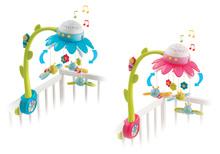 Kiságyforgó pillangókkal Virág Flower Cotoons Smoby dallamokkal és fénnyel rózsaszín/kék 0 hó kortól