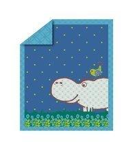 Detský paplón Sateen Hippo toT's-smarTrike modrý s hrochom 100% bavlna satén, náplň 100% polyester 100*120 cm TO110201