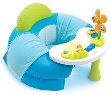 Fotel gonflabil Cotoons Cosy Seat Smoby cu măsuţă pentru dezvoltarea abilităţilor albastru de la 6 luni