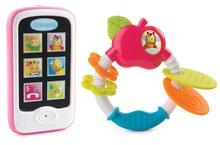 Set hračiek detské hryzátko Jabĺčko Cotoons Smoby a mobilný telefón od 6 mesiacov ružový
