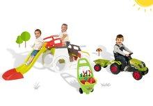 Smoby 840200-15 szett mászóka Adventure Car csúszdával, traktor Claas GM és kiskocsi kertészeknek 2 éves kortól