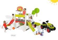 Set hrací centrum Fun Center Smoby se skluzavkou dlouhou 150 cm, traktor Claas GM a kruhy na házení od 2 let