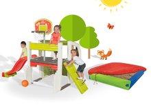 SMOBY 310059-15 játékcentrum Fun Center csúszda asztallal + színes homokozó takaróponyvával 2 éves kortól