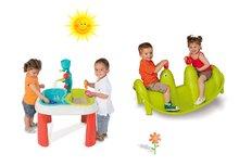 Szett asztal gyerekeknek Víz&Homok 2in1 Smoby malommal és libikóka Fóka vízsugárral 18 hónapos kortól