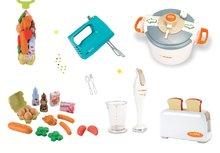 Set toaster pre deti Mini Tefal, ručný mixér Tefal, tlakový hrniec Tefal, ponorný mixér Tefal swing a potraviny v sieťke