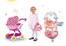SMOBY 24663-14 set prebaľovací stôl pre bábiku Baby Nurse a hlboký kočík pre bábiku Minnie od 18 mesiacov