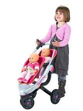 Kočárky od 18 měsíců - Kočárek pro panenky dvojčata Maxi Cosi & Quinny Twin Smoby (70 cm rukojeť) růžovo-šedý_0