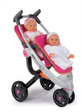 Kočárky od 18 měsíců - Kočárek pro panenky dvojčata Maxi Cosi & Quinny Twin Smoby (70 cm rukojeť) růžovo-šedý_1