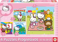 Puzzle Hello Kitty Educa 25-20-16-12 buc de la 24 luni