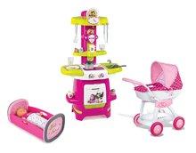 Set detský kočík pre bábiku Hello Kitty Smoby (55 cm rúčka), kuchynka Máša a kolíska pre bábiku od 18 mesiacov