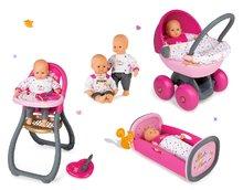 Set bábika Baby Nurse Zlatá edícia Smoby 32 cm, jedálenská stolička, hlboký kočík a kolíska s perinkou od 2 rokov