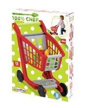 Obchody pre deti - Nákupný vozík 100% Chef Écoiffier s potravinami a 13 doplnkami červeno-strieborný od 18 mes_4