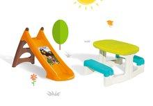 Šmykľavky sety - Set šmykľavka Máša a medveď Smoby Toboggan XS s vodou dĺžka 90 cm a stôl Piknik s úložným priestorom od 24 mes_1
