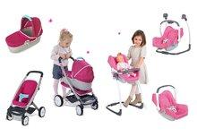 Set kočík pre bábiku Maxi Cosi & Quinny 3v1 Smoby (65,5 cm rúčka) a sada stolička, autosedačka a hojdačka 3v1