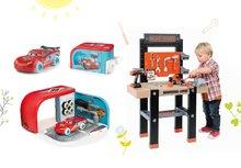 Set detská pracovná dielňa Black+Decker Smoby s vŕtačkou a autoservis Autá Ice s autíčkom McQueen v kufríku