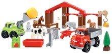 Építőjáték Abrick Farm Écoiffier 2 autóval és állatkákkal dobozban zöld 18 hó-tól