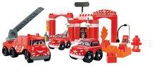 Építőjáték Abrick Tűzoltóautók Écoiffier garázzsal dobozban piros 18 hó-tól