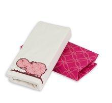 Napínací prostěradlo do postýlky Joy toTs-smarTrike hroch 2 kusy 100% bavlněný satén růžové