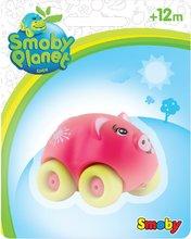Zvieratko na kolieskach Eden Planet Smoby koník, ovečka, zajačik, prasiatko, kravička, mačička 7 cm na karte od 12 mesiacov